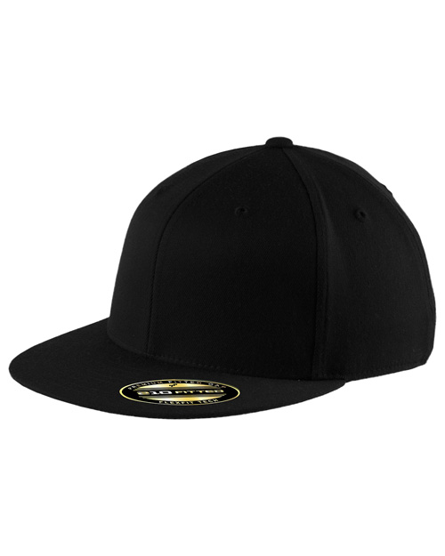 Port Authority C808   FlexfitFlat Bill Cap. Black at bigntallapparel