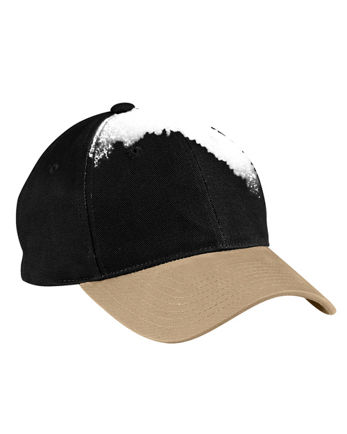Port Authority C815  Two Tone Brushed Twill Cap Black/Sand at bigntallapparel
