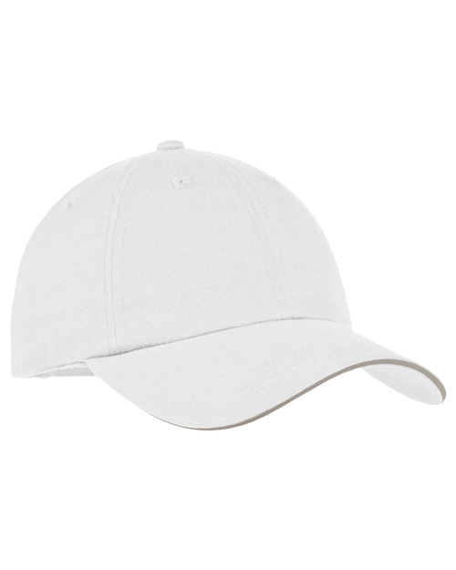 Port Authority Signature C832 Mens Reflective Sandwich Bill Cap White/ Reflective at bigntallapparel