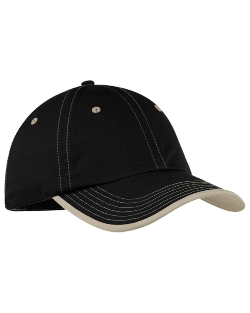 Port Authority C835  Vintage Washed Contrast Stitch Cap Black/ Stone at bigntallapparel