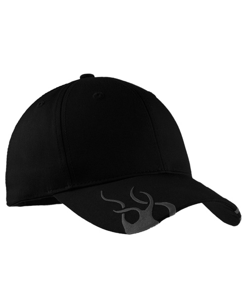 Port Authority C857 Mens Racing Cap with Flames Black/Charcoal at bigntallapparel
