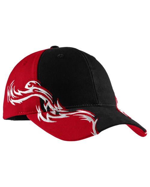 Port Authority C859 Signature - Mens Colorblock Racing Cap With Flames Black/Red/White at bigntallapparel