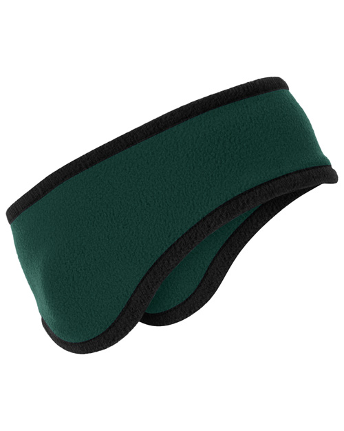 Port Authority C916 Two-Color Fleece Headband.  Dark Green at bigntallapparel