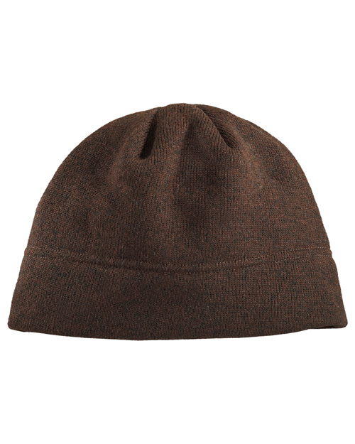 Port Authority C917 Heathered Knit Beanie.  Chocolate Heather/Black at bigntallapparel