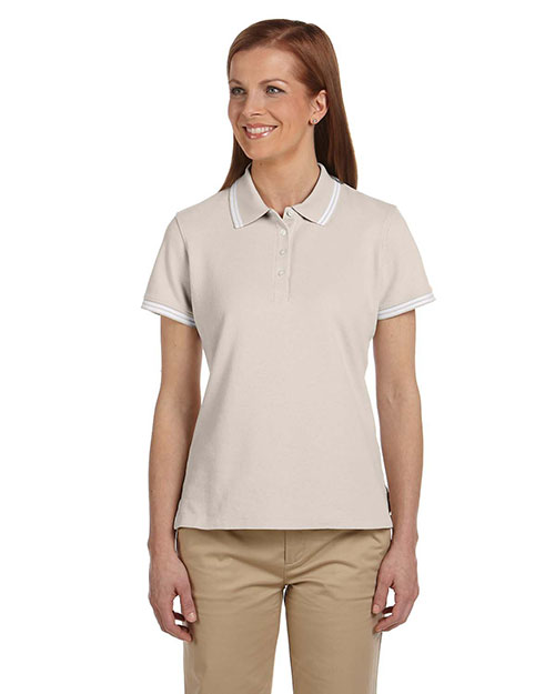 Chestnut Hill CH113W Ladies' Tipped Performance Plus Piqué Polo STONE/WHITE at bigntallapparel