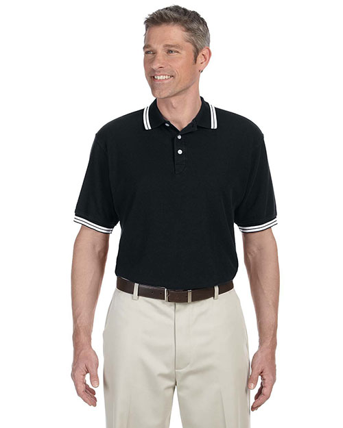 Chestnut Hill CH113 Mens Tipped Performance Plus Pique Polo Black/White at bigntallapparel