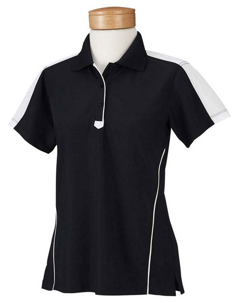Chestnut Hill CH355W Ladies' Piped Technical Performance Polo BLACK/WHITE at bigntallapparel