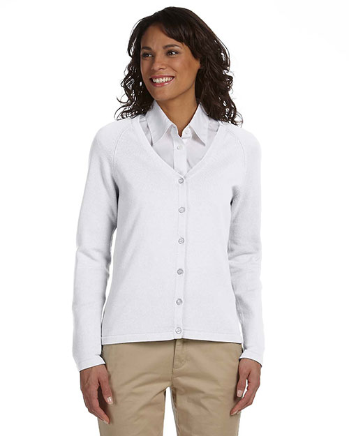 Chestnut Hill CH405W Ladies' Six-Button Cardigan WHITE at bigntallapparel