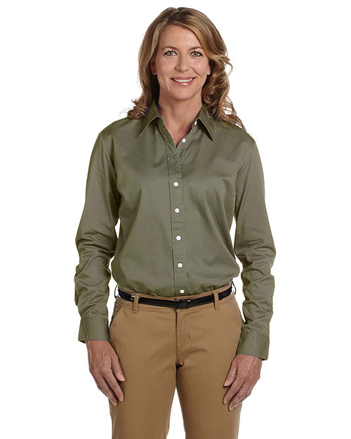Chestnut Hill CH500W Ladies' 32 Singles Long-Sleeve Twill OLIVE at bigntallapparel