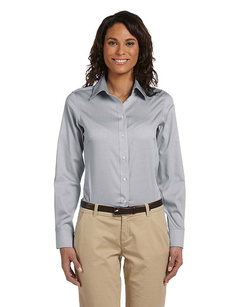 Chestnut Hill CH620W Ladies' Executive Performance Pinpoint Oxford SILVER GREY at bigntallapparel