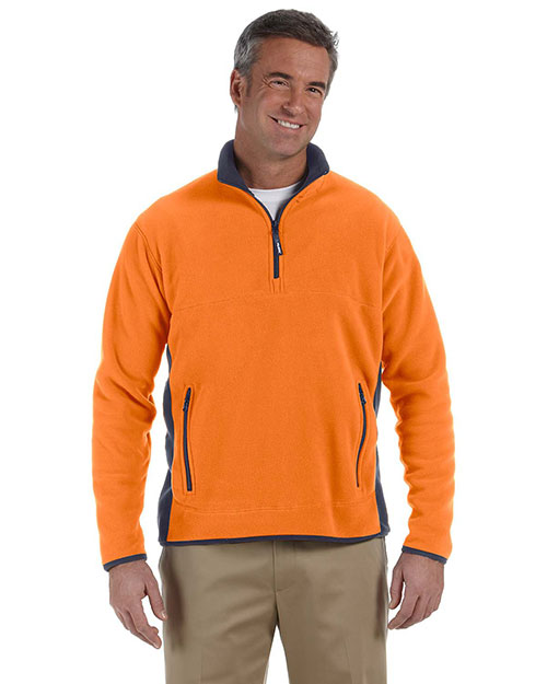 Chestnut Hill CH970 Men Polartec Colorblock Quarter-Zip Jacket Oj/True Navy at bigntallapparel