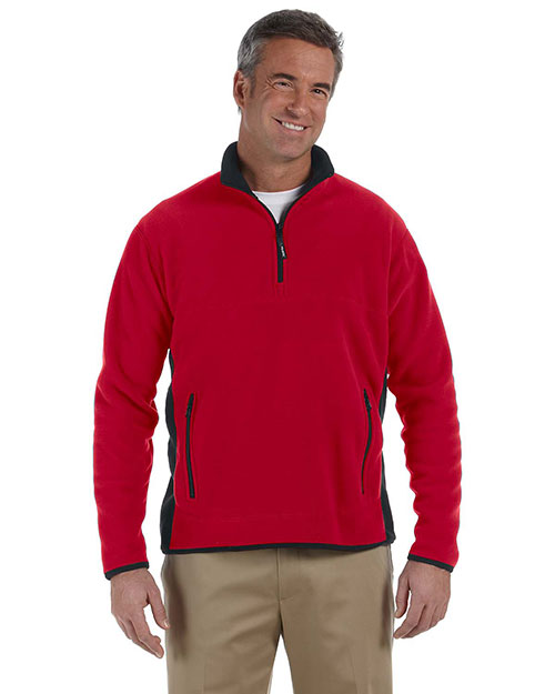 Chestnut Hill CH970 Mens Polartec® Colorblock Quarter-Zip Jacket Cherry/Black at bigntallapparel