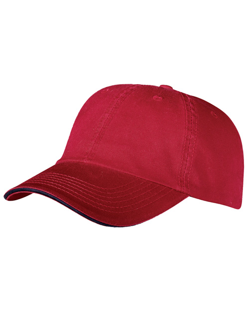 Port & Company CP79 Mens Washed Twill Sandwich Cap Red/Navy at bigntallapparel