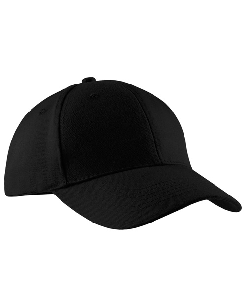 Port & Company CP82 Mens Brushed Twill Cap Black at bigntallapparel