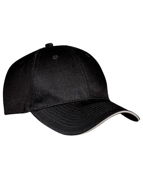 Port & Company CP85 Mens Sandwich Bill Cap Black/Khaki at bigntallapparel