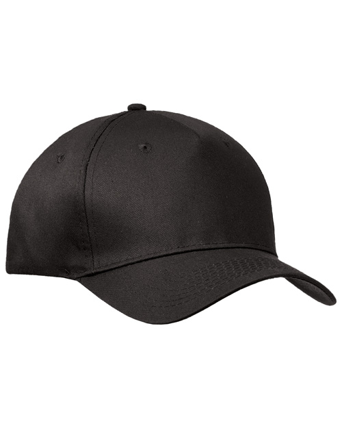 Port & Company CP86 Mens 5 Panel Twill Cap Black at bigntallapparel