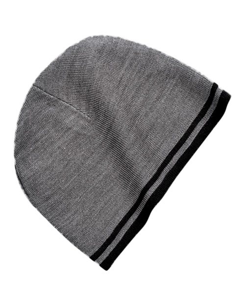 Port & Company CP93 Mens Fine Knit Skull Cap with Stripe Athletic Oxford/Black at bigntallapparel