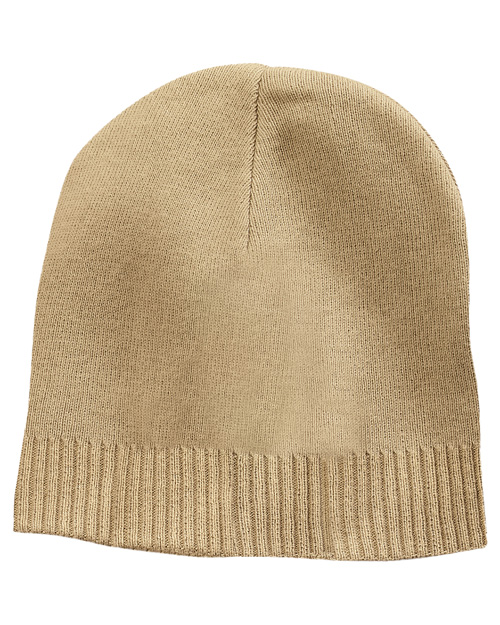 Port Authority CP95  100% Cotton Beanie Khaki at bigntallapparel