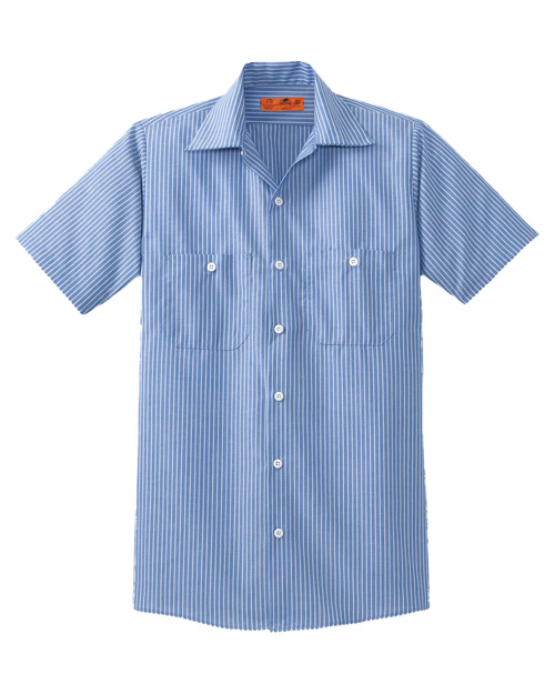 CornerStone CS20 Mens Short Sleeve Striped Industrial Work Shirt Blue/White at bigntallapparel