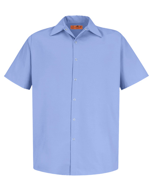 Cornerstone CS26 Men Short Sleeve Pocketless Snap Work Shirt Light Blue at bigntallapparel