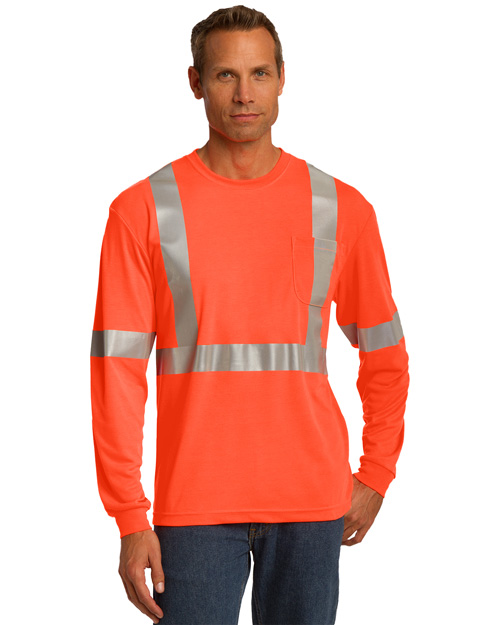CornerStone CS401 Mens Ansi Compliant Safety Work T Shirt Safety Orange/ Reflective at bigntallapparel
