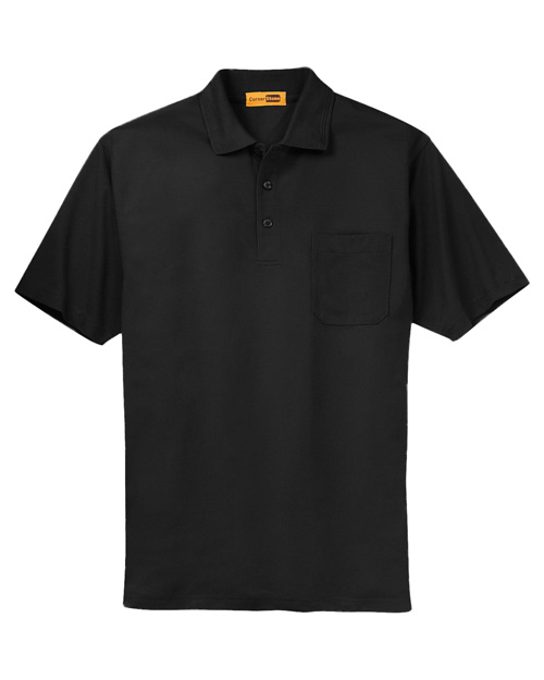 CornerStone CS402P Mens Industrial Pocket Pique Polo Black at bigntallapparel