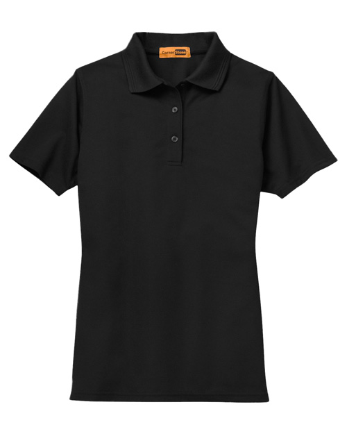 CornerStone CS403 Ladies Industrial Pocketless Pique Polo.  Black at bigntallapparel