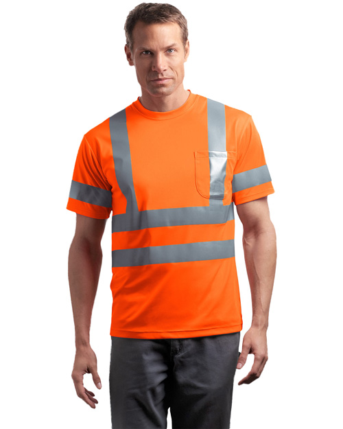 CornerStone CS408 Mens ANSI Class 3 Short Sleeve Snag Resistant Reflective T Shirt Safety Orange at bigntallapparel