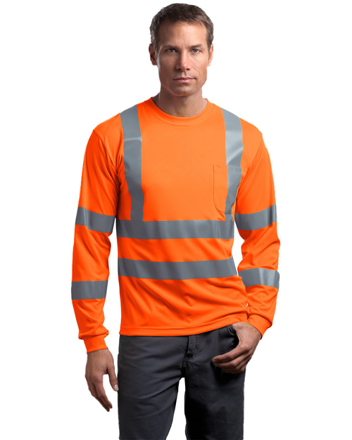 Cornerstone CS409 Men Ansi Class 3 Long Sleeve Snag Resistant Reflective T Shirt Safety Orange at bigntallapparel