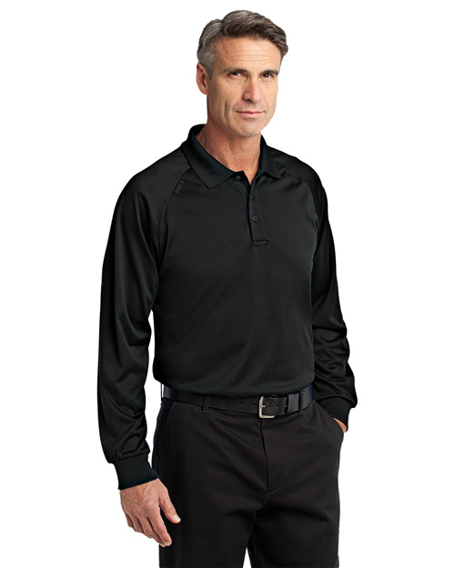 CornerStone CS410LS Select Long Sleeve Snag-Proof Tactical Polo.  Black at bigntallapparel