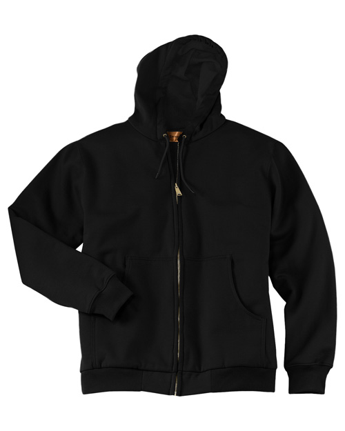 CornerStone CS620 Mens Heavy Weight Full Zip Hoodie with Thermal Lining Black at bigntallapparel