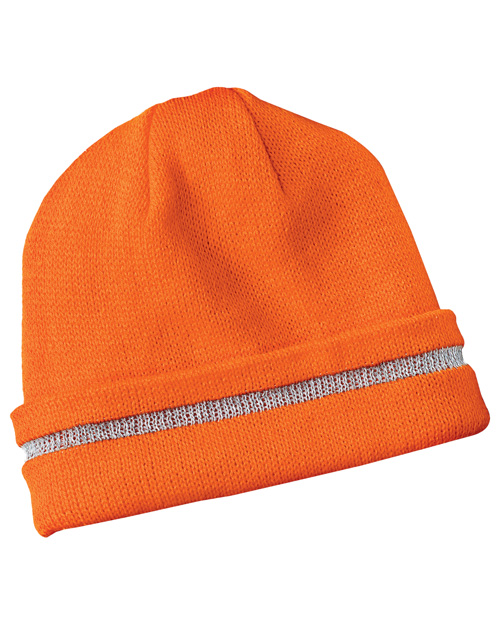 CornerStone CS800 Mens Safety Beanie with Reflective Stripe Safety Orange/ Reflective at bigntallapparel