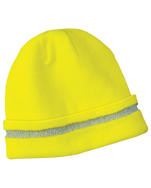 CornerStone CS800 Mens Safety Beanie with Reflective Stripe Safety Yellow/ Reflective at bigntallapparel