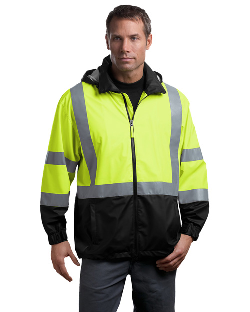 CornerStone CSJ25 Mens ANSI Class 3 Safety Windbreaker Safety Yellow/Black at bigntallapparel