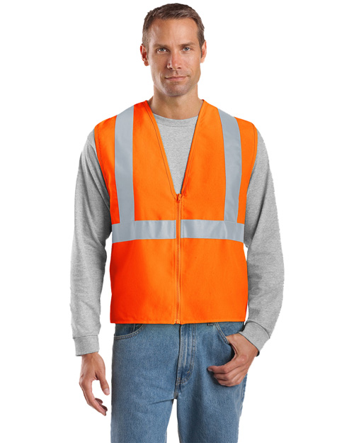 CornerStone CSV400 Mens Ansi Compliant Safety Work Vest Safety Orange/ Reflective at bigntallapparel