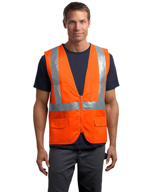 CornerStone CSV405 Mens ANSI Class 2 Mesh Back Safety Vest Safety Orange at bigntallapparel