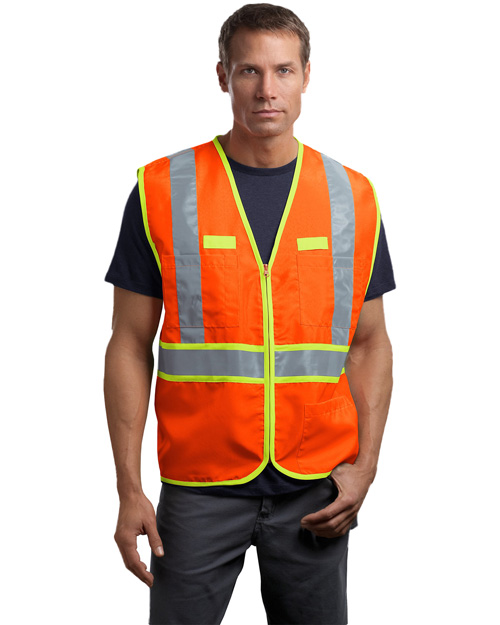 CornerStone CSV407 Mens ANSI Class 2 Dual-Color Safety Vest Safety Orange/Safety Yellow at bigntallapparel