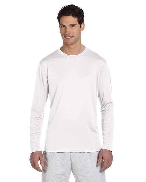 Champion CW26 4 oz. Double Dry® Performance Long-Sleeve T-Shirt WHITE at bigntallapparel