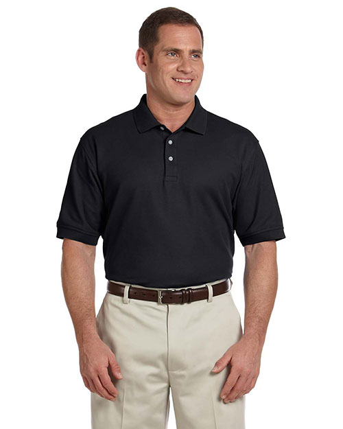 Devon & Jones D100T Men's Tall Pima Piqué Short-Sleeve Polo BLACK at bigntallapparel