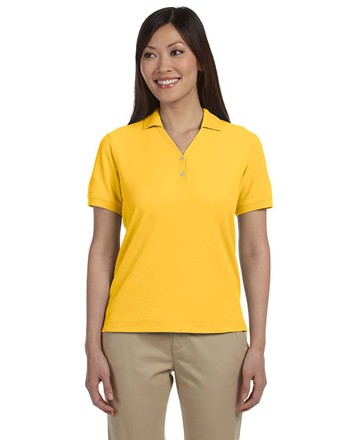 Devon & Jones D100W Women Pima Pique Short-Sleeve Y-Collar Polo Sunray Yellow at bigntallapparel