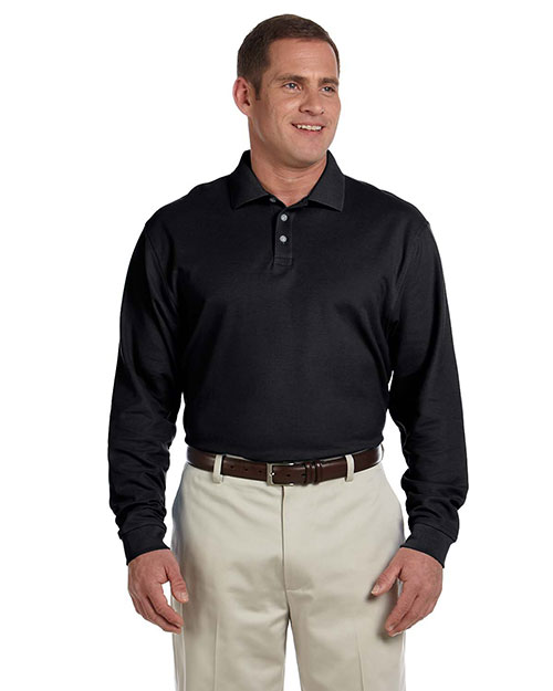 Devon & Jones D110 Mens Pima Pique Long Sleeve Polo Black at bigntallapparel