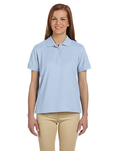 Devon & Jones D112W Ladies' Pima Piqué Short-Sleeve Polo LIGHT BLUE at bigntallapparel