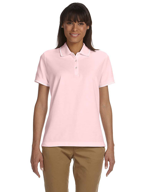 Devon & Jones D113W Ladies' Pima Piqué Short-Sleeve Tipped Polo PINK/WHITE at bigntallapparel