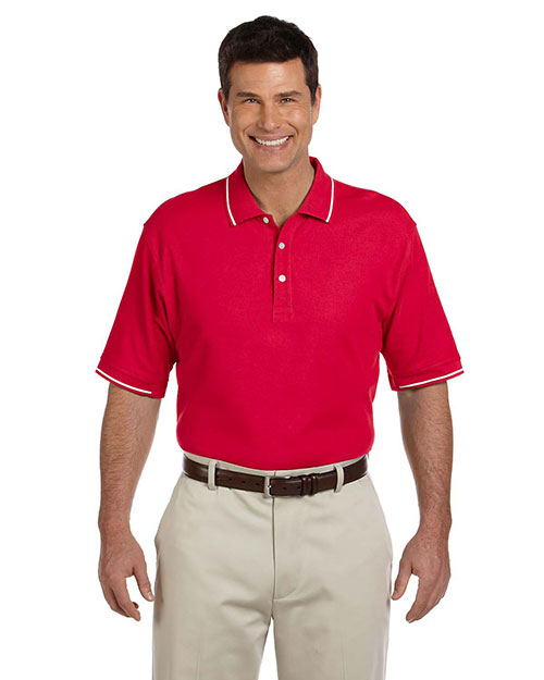 Devon & Jones D113 Mens Pima Pique Short Sleeve Tipped Polo Red/White at bigntallapparel
