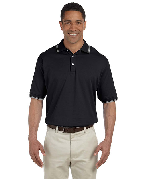 Devon & Jones D140 Men Tipped Perfect Pima Interlock Polo Black/Grey Hthr at bigntallapparel