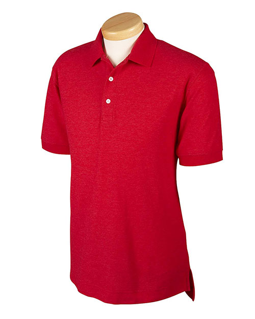 Devon & Jones D153GR Mens Recycled Pima Melange Pique Polo Red Melange at bigntallapparel