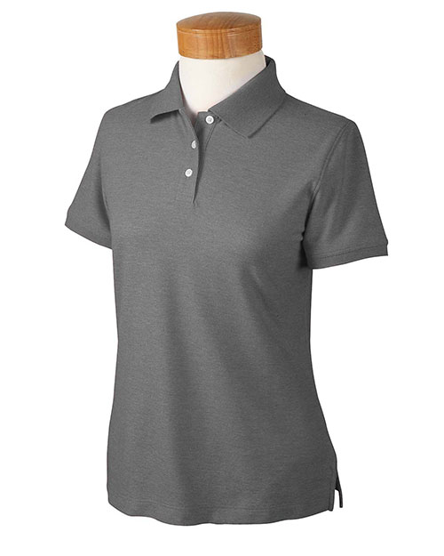 Devon & Jones D153WGR Ladies' Recycled Pima Mélange Piqué Polo BLACK MELANGE at bigntallapparel