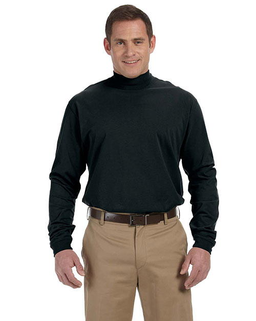 Devon & Jones D420 Mens Sueded Cotton Jersey Mock Turtleneck Black at bigntallapparel