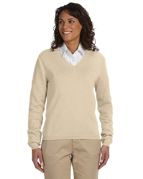 Devon & Jones D475W Ladies' V-Neck Sweater STONE at bigntallapparel