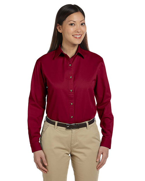 Devon & Jones D500W Women Long-Sleeve Titan Twill Crimson at bigntallapparel